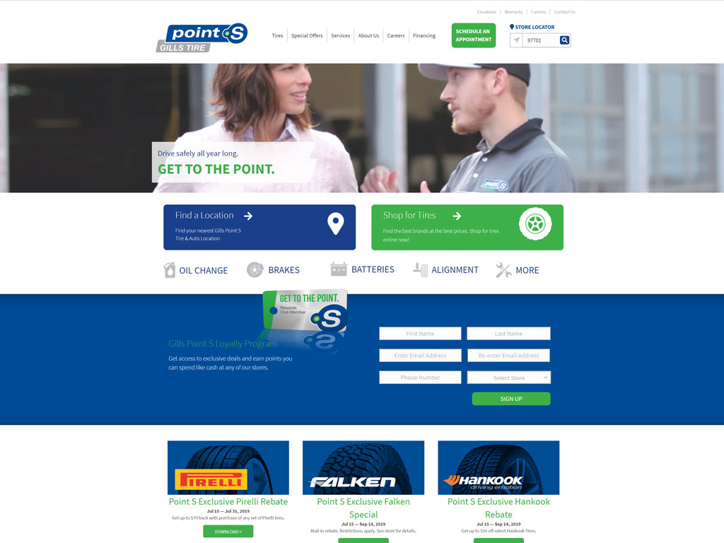 Gills Point S Tires Website Screenshot