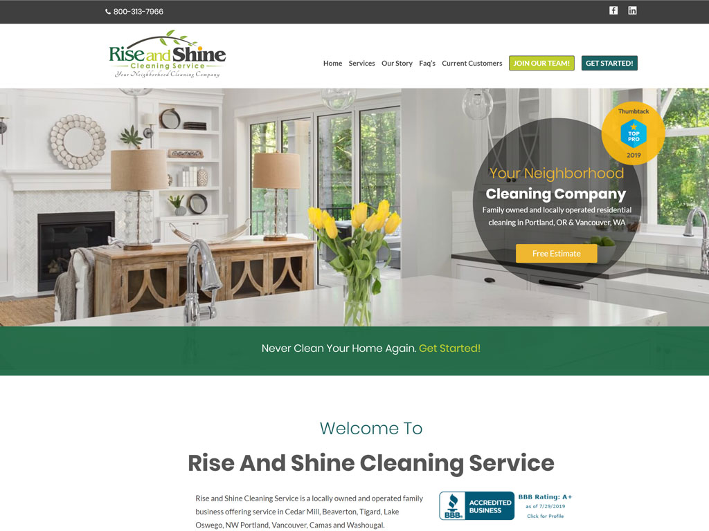 Rise & Shine Cleaning Company Website Thumbnail
