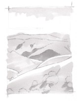 With a marker of a slightly darker value, fill in the shapes of the distant woodlands, foreground shadows, and the tops of the ridges in the middle ground. Note that there is no edge on the background hills.