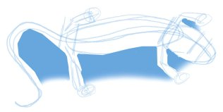 Visualize the negitive spaces between the legs, tail, and body to help you cut in the angles and check proportions.