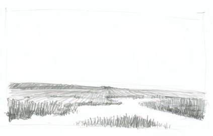 Start with a line drawing of the landscape. In this drawing note how the lines in the middle and background converge toward the center. This is a drawing trick you can use to suggest open spaces and flat planes.