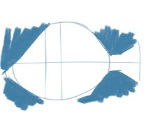 Visualize the negative shapes above and below the face and tail.