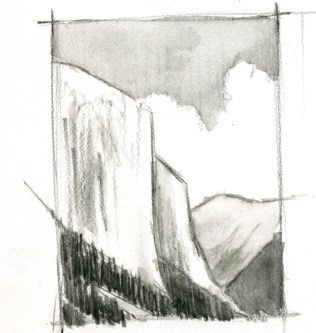 Continue adding water to the value zones, keeping the three steps of value in mind. Note that foreground elements get more detail, and more contrast. Leave some of the whites white. Note that the vertical strokes of the foreground forest show through in the finished piece. This suggests distant trees.