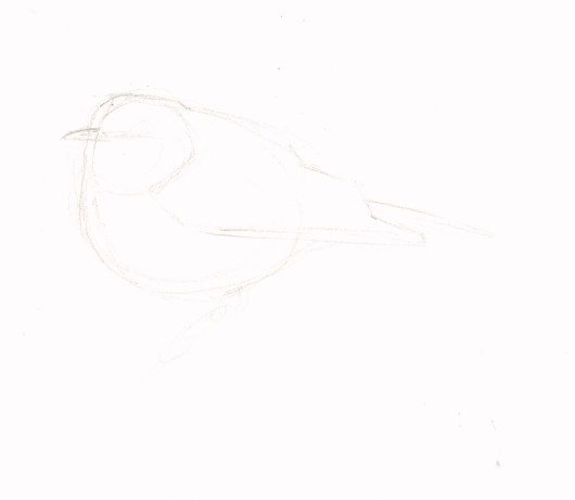 Block in the body shape with light lines. Focus on proportions. How big is the head relative to the body? What is the angle of the back and chest?