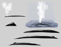 """Here """"water blobs"""" suggest the shape of waves on the surface. Note that they are larger and darker and more """" wavey"""" in the foreground."""