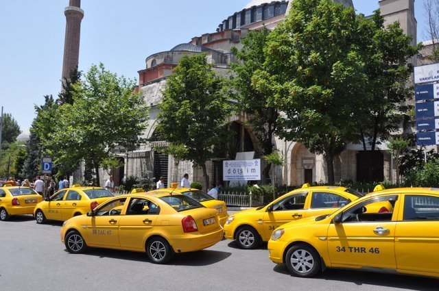 Your standard Istanbul yellow metered taxi.