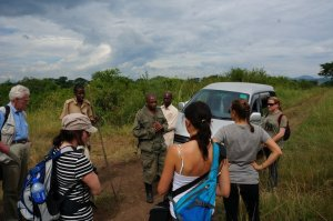 Getting briefed before heading into the Kyambura