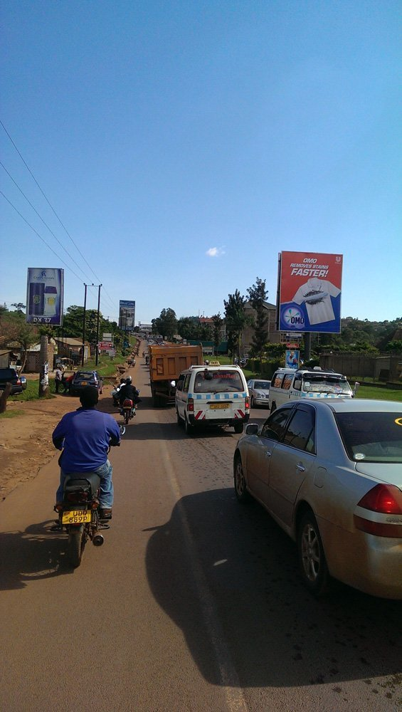 The traffic on the Kampala-Entebbe Airport road. Where a Boda Boda comes in nicely.