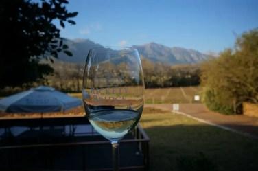 Drinking wine in Franschhoek