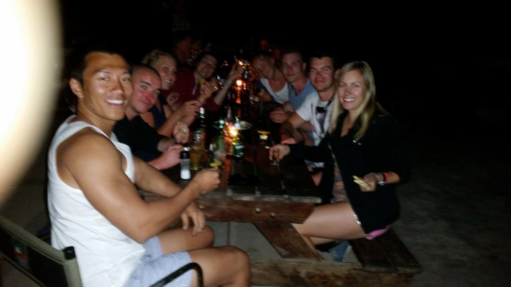 Imbibing heavily at our campsite in Kasane with the group.