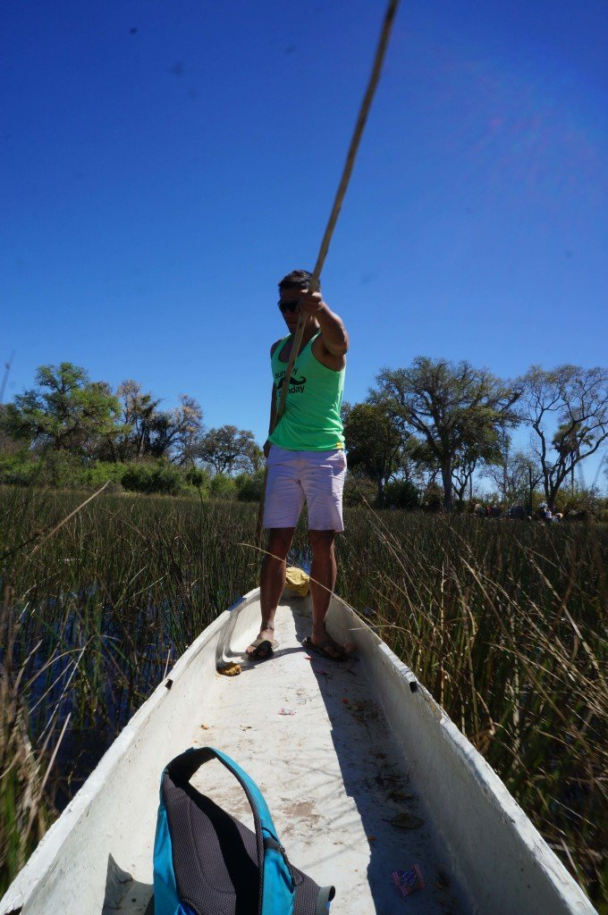 Poling through the Okavango, looking a lot cooler than I really did.