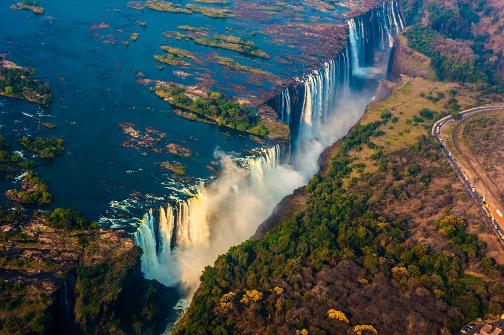 Victoria Falls Aerial view from helicopter Zambia and Zimbabwe