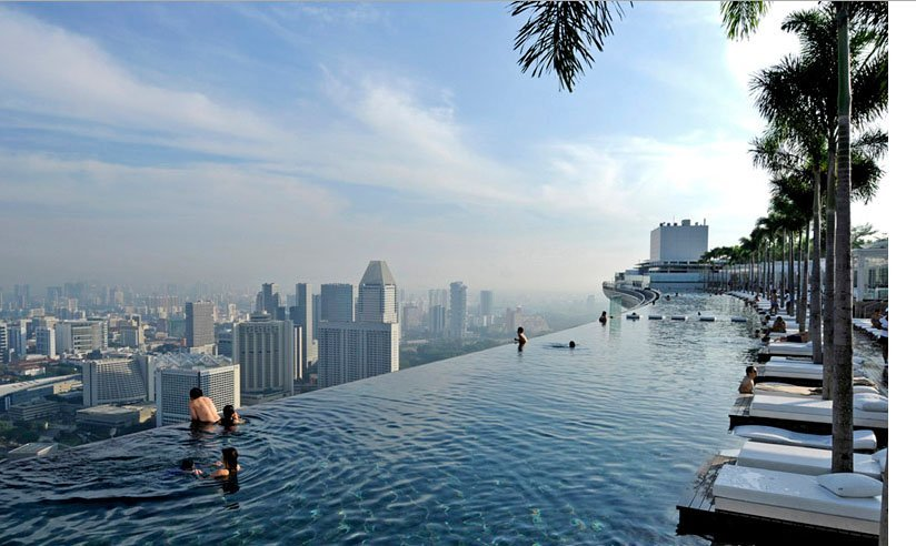 The rooftop pool at the Marina Bay Sands. Staying at the hotel is a necessity.