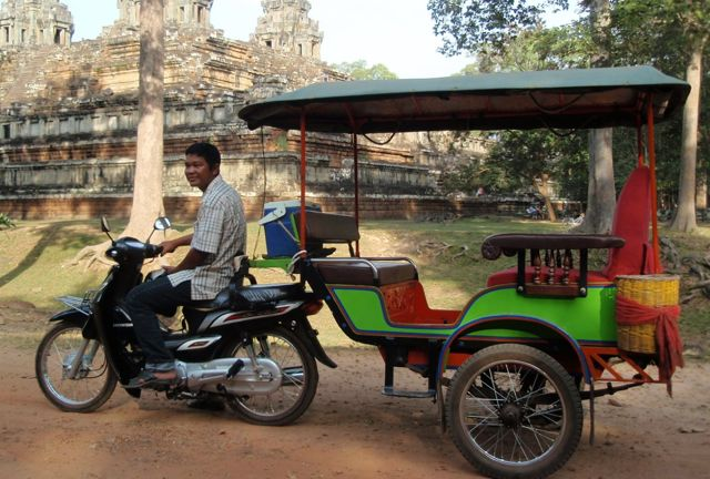 Not my tuk tuk driver because I forgot to take a picture of him sadly but this is your standard Siem Reap tuk tuk.
