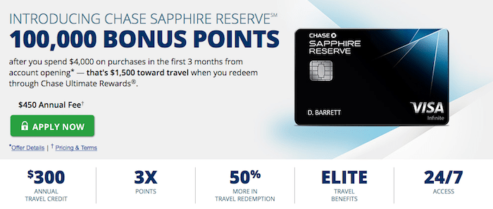 Chase Sapphire Reserve rewards
