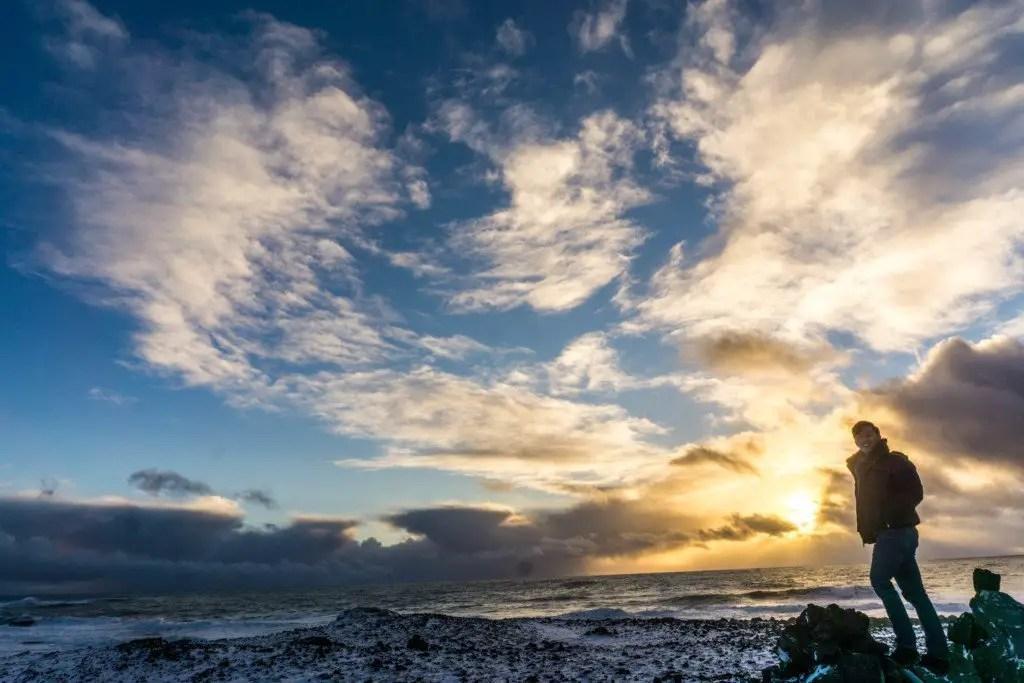 Sandvik beach in winter sunset