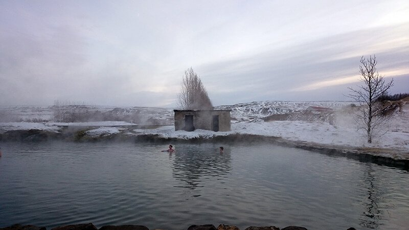 secret lagoon in the winter