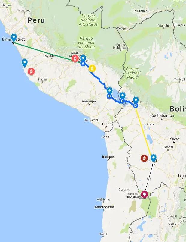 peru bolivia itinerary map