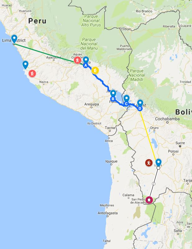 peru bolivia itinerary map