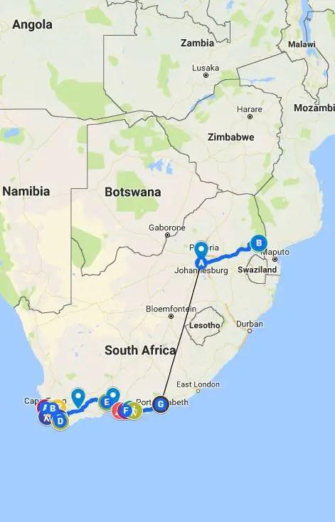 south africa travel itinerary one week two week three week