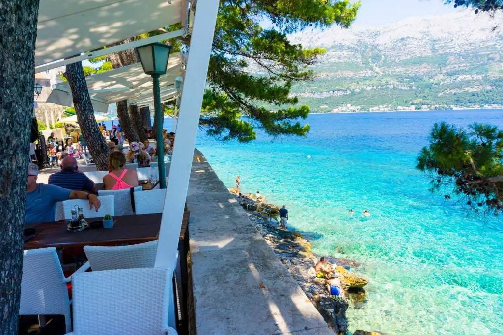 korcula restaurant ocean views