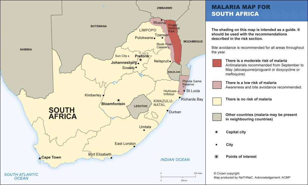 malaria in south africa map