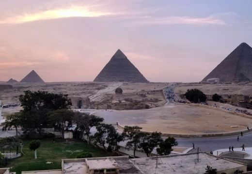 Pyramids of Giza view from hotel