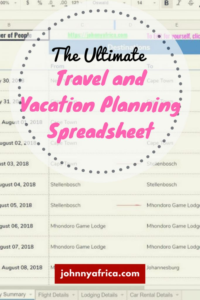Planning travel can be painful, especially with a large group. There are loads of apps available nowadays but sometimes, you just can't beat a nice, professionally organized spreadsheet. I've created a comprehensive and attractive spreadsheet that you can use to plan your next trip with many different features! #spreadsheet #excel #travel #planning