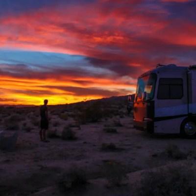 RV camper sunset joshua tree desert zion
