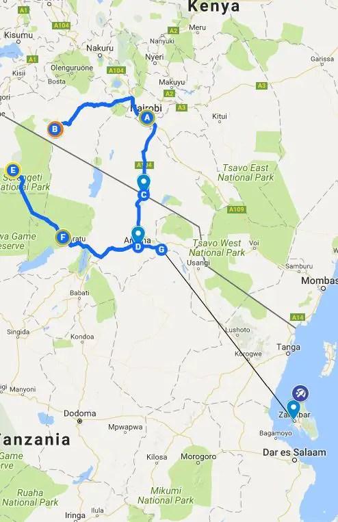 two week kenya and tanzania map itinerary travel