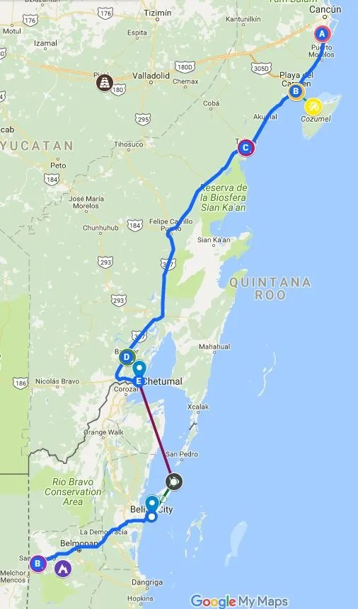 Mexico-Belize Itinerary