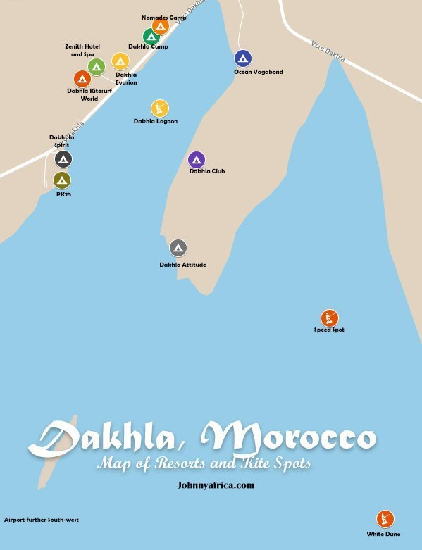 Dakhla morocco map resorts