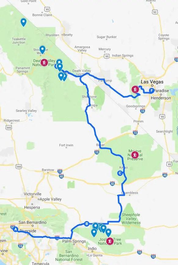 road trip joshua tree death valley map