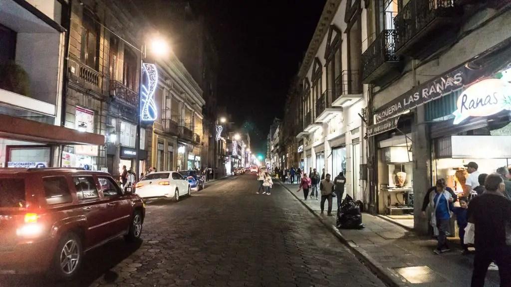 Zocalo of Puebla at night