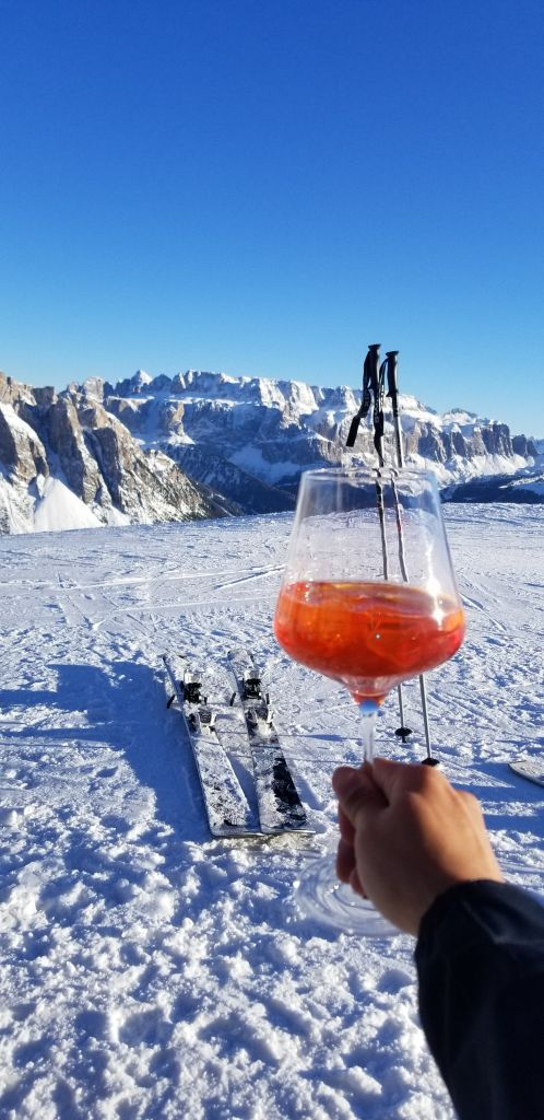 Enjoying an Aperol Spritz at 2000m up