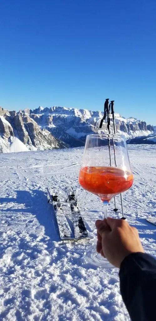 Enjoying an Aperol Spritz at 2000m up