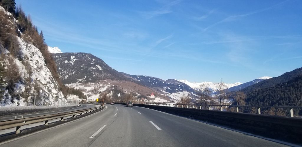 Driving to the dolomites austria