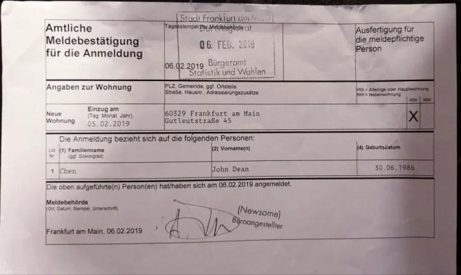 Anmeldung Germany address registration