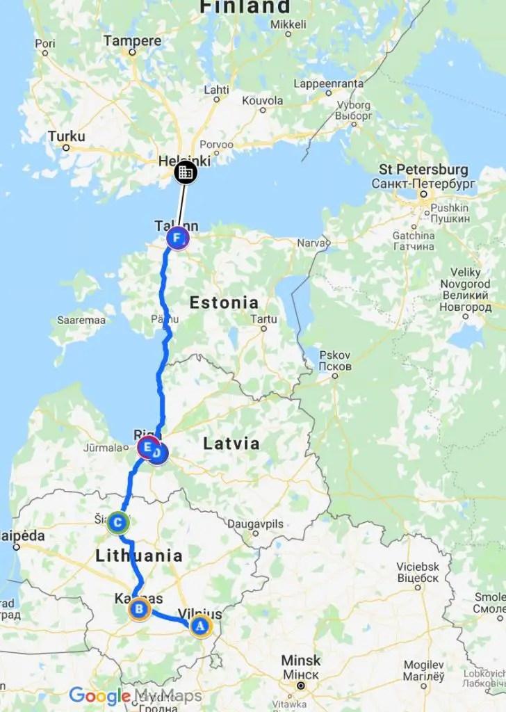 Baltics Travel Itinerary map