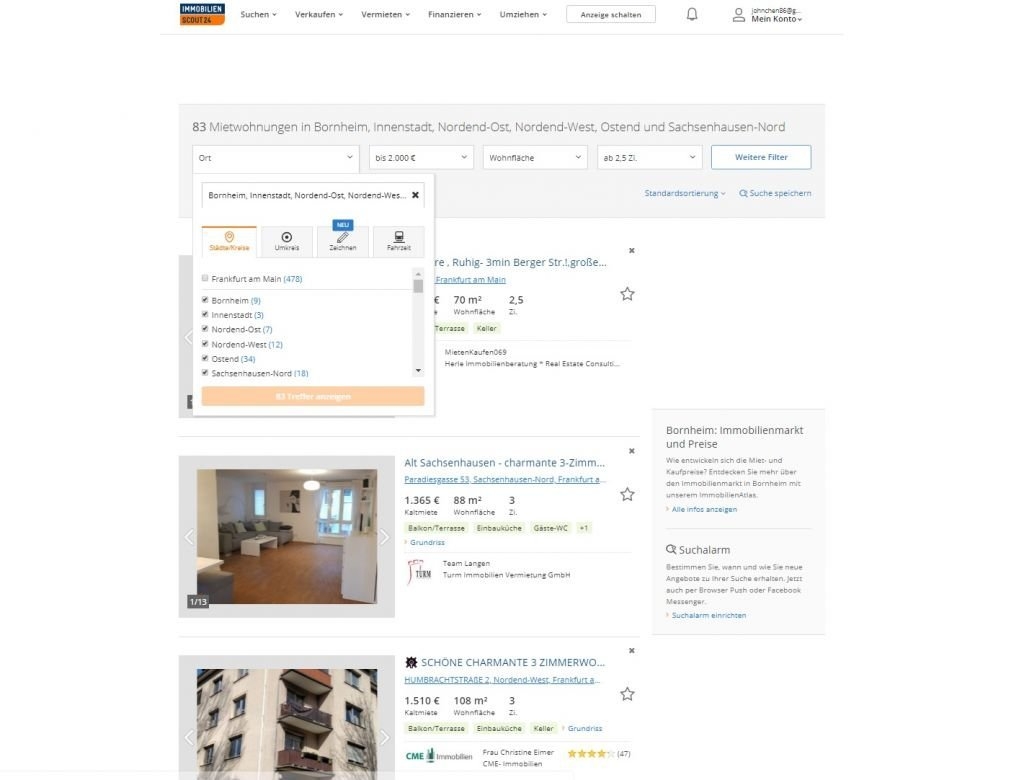 Immobilienscout Germany how to use
