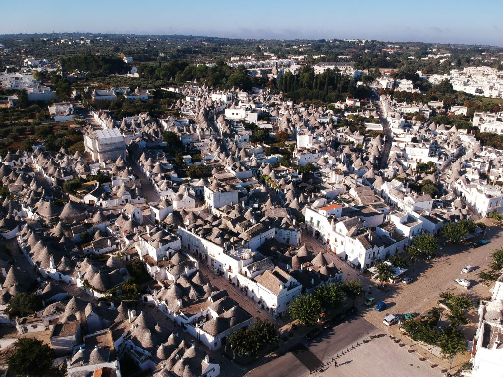 Aerial shot of Alberobello from drone