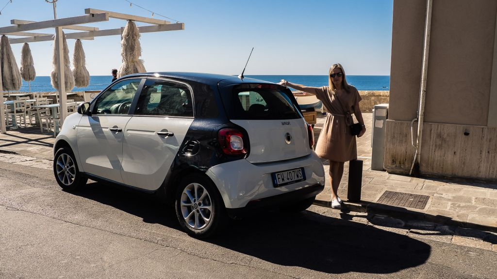 Our beautiful smart car 4 door. Definitely the car you need for an Italian adventure