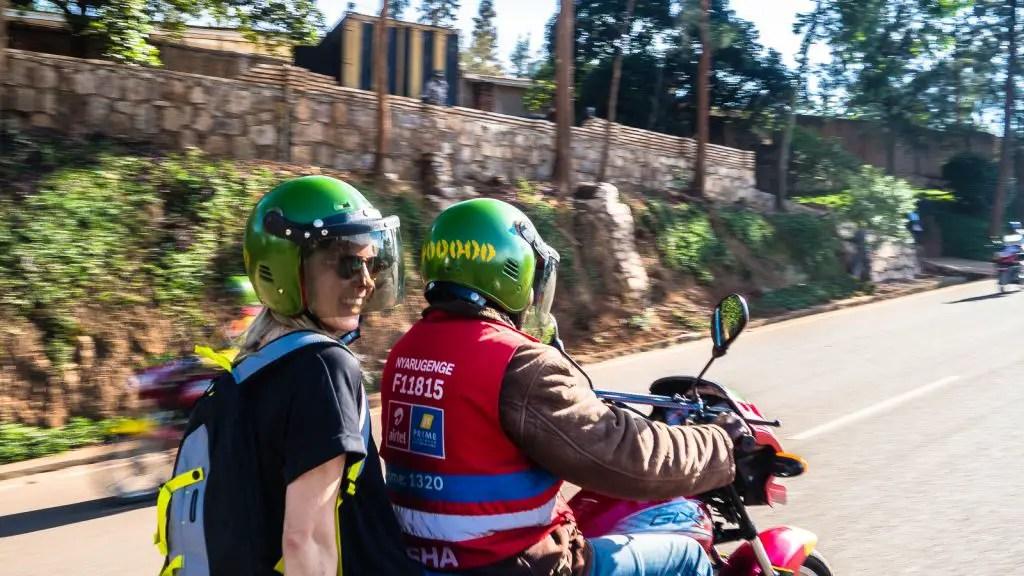 Riding boda boda in Kigali
