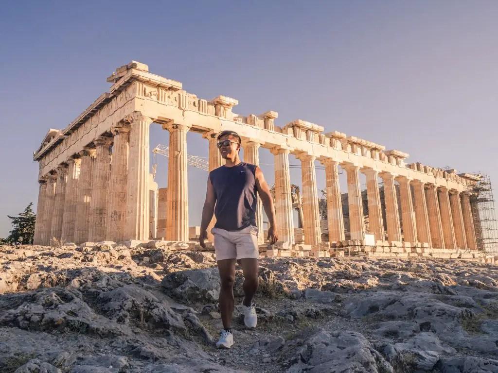 Athens acropolis parthenon sunset