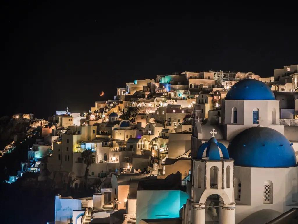 Santorini Oia blue domes night