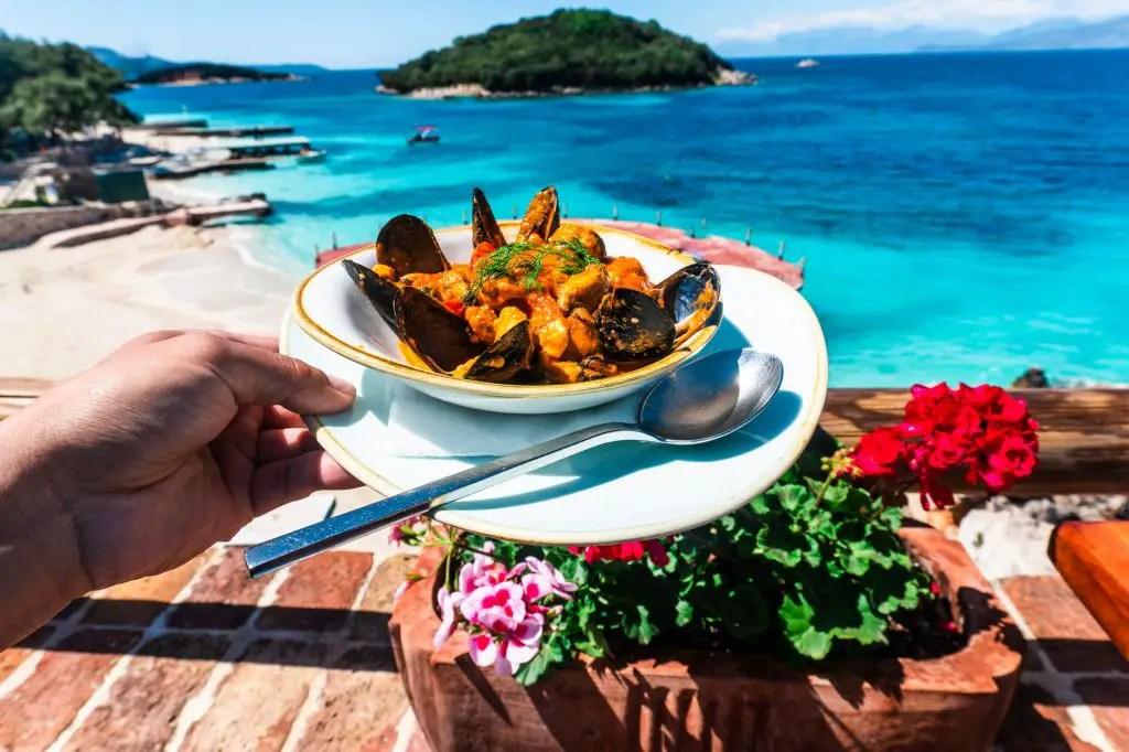 Ksamil Greek food ocean
