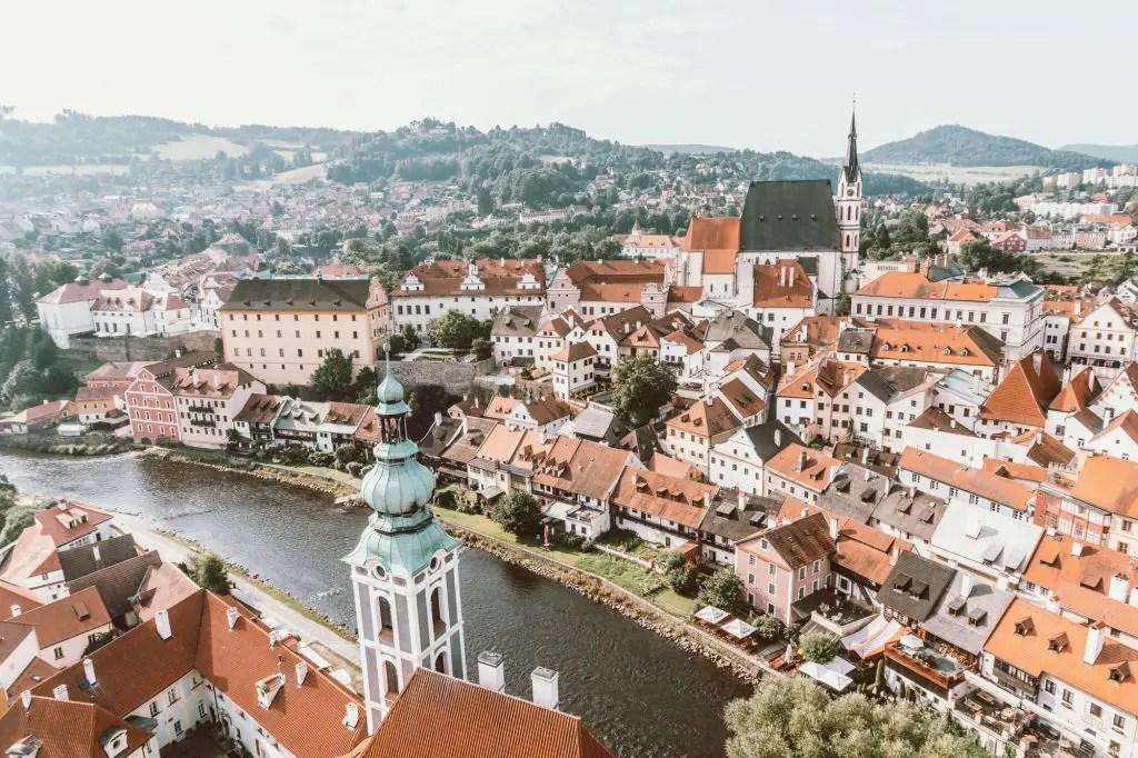 Cesky Krumlov castle tower Czech Republic