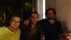 Last night in Auvillar. Jean-Philippe, Wes and Tristan