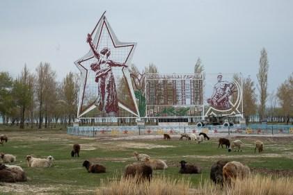 War Memorial Monument and Sheep Kyrgyzstan-0672
