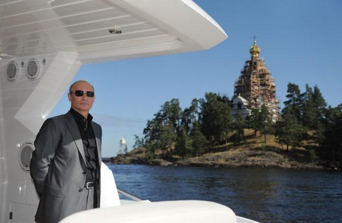 on a boat on Lake Ladoga visiting the Spaso-Preobrazhensky Monastery